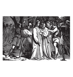 Judas betrays jesus in the garden of gethsemane vector