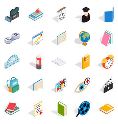 Knowledge icons set isometric style vector