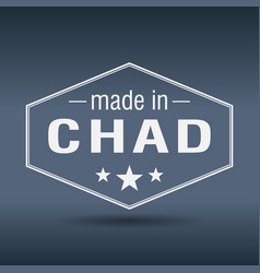 Made in chad hexagonal white vintage label vector