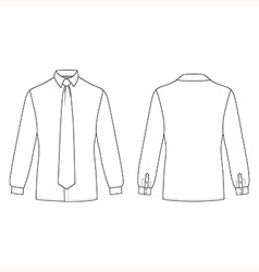 Mans shirt tie outlined template vector
