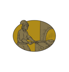 Medieval baker bread peel wood oven oval drawing vector