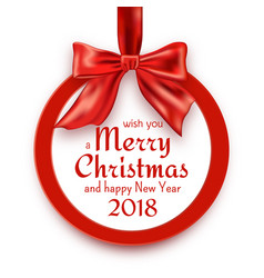 Merry christmas and happy new year 2018 round vector