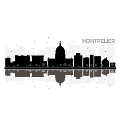 Montpelier city skyline black and white vector