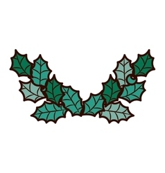 ornament frame with leaves Christmas vector image