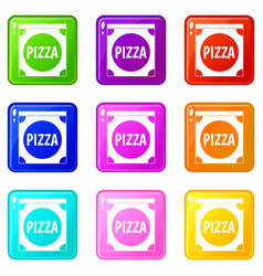pizza box cover set 9 vector image vector image