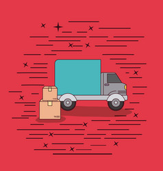 Red background with truck service and package vector