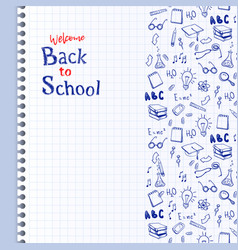 seamless border with school elements back to vector image
