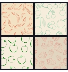 Set of Four Fruit Seamless Patterns vector image