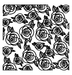 Silhouette pattern roses floral design vector