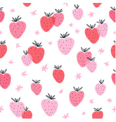 strawberry doodle seamless pattern vector image vector image