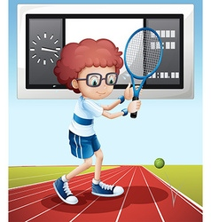 Tennis player in the field vector image vector image