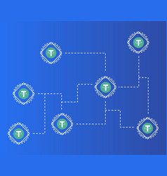 Tether cryptocurrency on blue background style vector