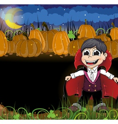 Vampire and pumpkins vector