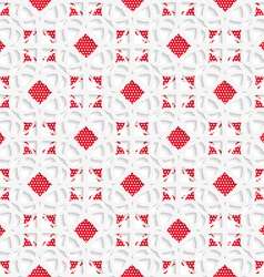 White geometrical ornament with red textured vector image vector image