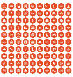 100 woman shopping icons hexagon orange vector