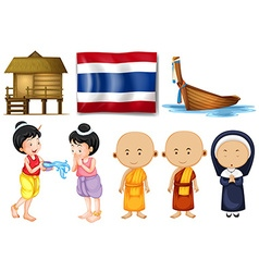 Thai flag and other cultural objects vector image