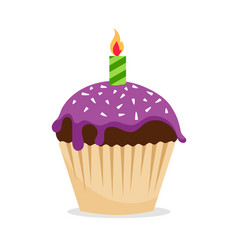 Sweet cupcake with candle icon vector