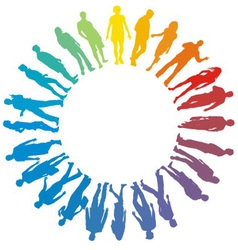 People rainbow star vector image