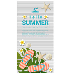 Hello summer background with sea elements vector