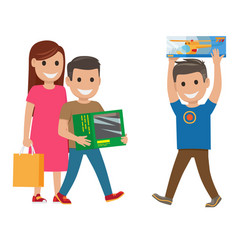 Family shopping  mother and sons vector