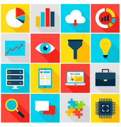 Big data colorful icons vector