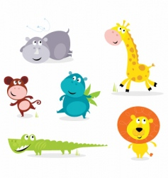 Six cute safari animals vector
