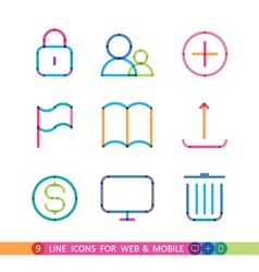 Set from 9 universal icons for web and mobile vector