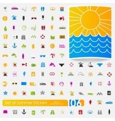 Set of summer stickers vector