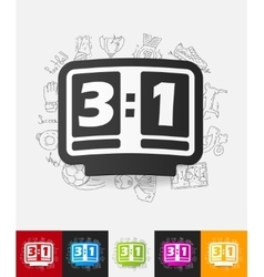 Score board paper sticker with hand drawn elements vector