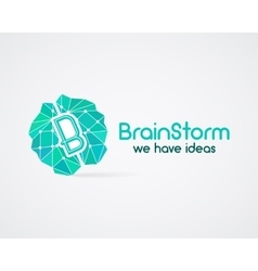 Brainstorm brain creation and idea logo template vector