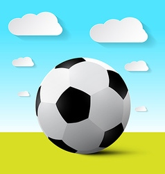Soccer ball on field with blue sky and cloud vector