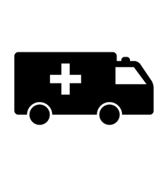 Black ambulance icon vector