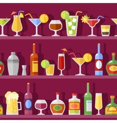 Cocktail Glasses And Bottles On Shelves vector image