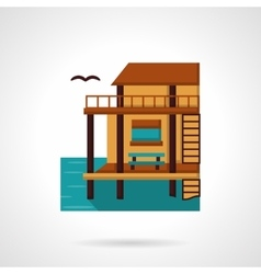 Wooden bungalow flat design icon vector