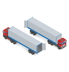 Isometric red truck without a trailer vector image