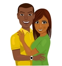 African american couple hugging together vector