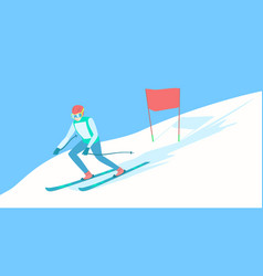 alpine skier on the ski track vector image