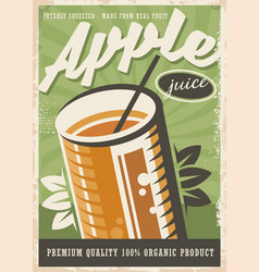 apple juice retro poster design vector image