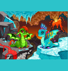baby dragons in a landscape with fire and ice vector image