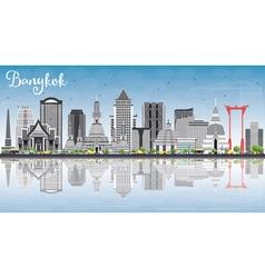 Bangkok skyline with gray landmarks vector