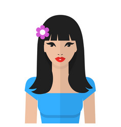Beautiful asian woman flat icon asian girl vector