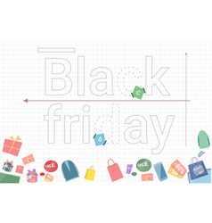 Black friday sale banner with gift boxes on vector