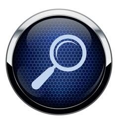 Blue honeycomb magnifying glass icon vector image vector image