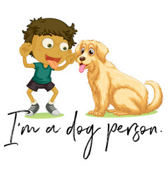 Boy and pet dog vector