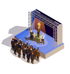 Business award winner podium isometric isometric vector