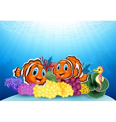 Cartoon clownfish and seahorse with underwater vector