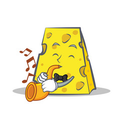Cheese character cartoon style with trumpet vector