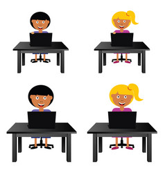 Children sitting and holding laptop vector