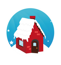Color circular frame with house in winter vector