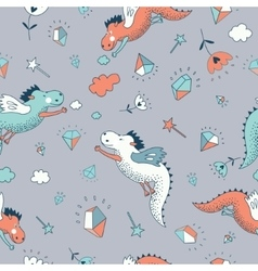 Cute funny seamless pattern hand drawn vector